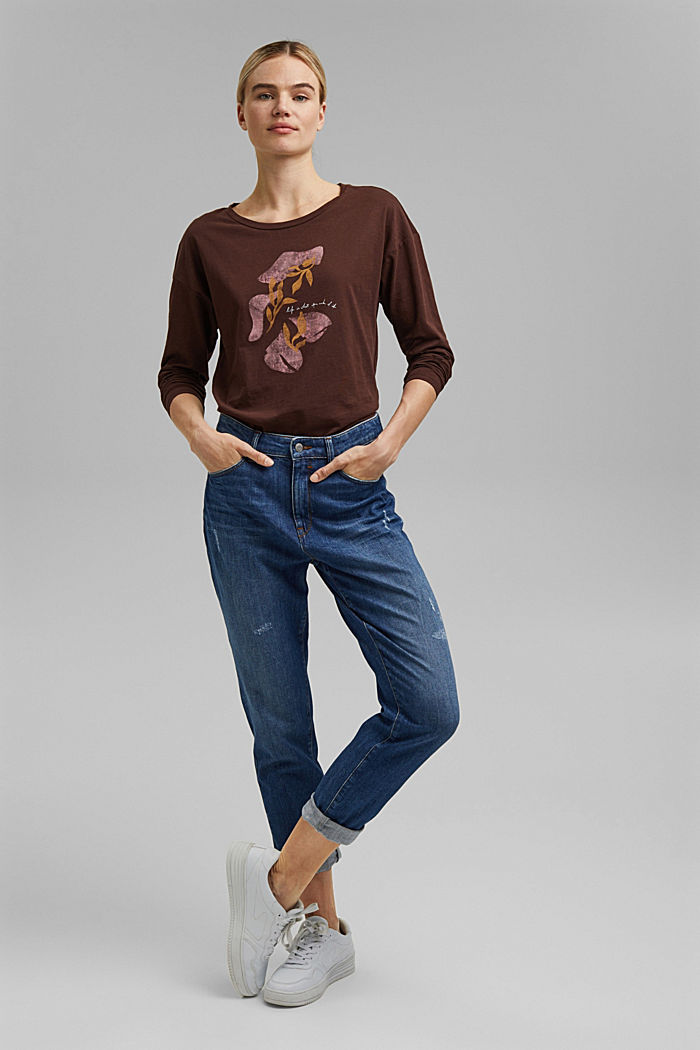 Cotton long sleeve top with a print, RUST BROWN, detail image number 1