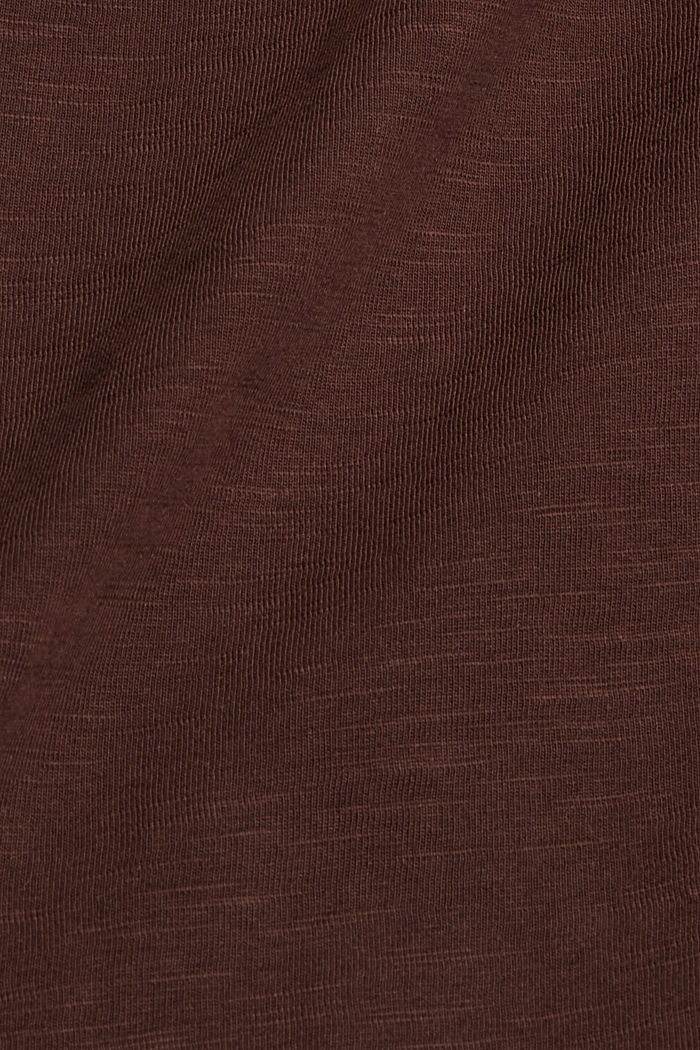 Cotton long sleeve top with a print, RUST BROWN, detail image number 4