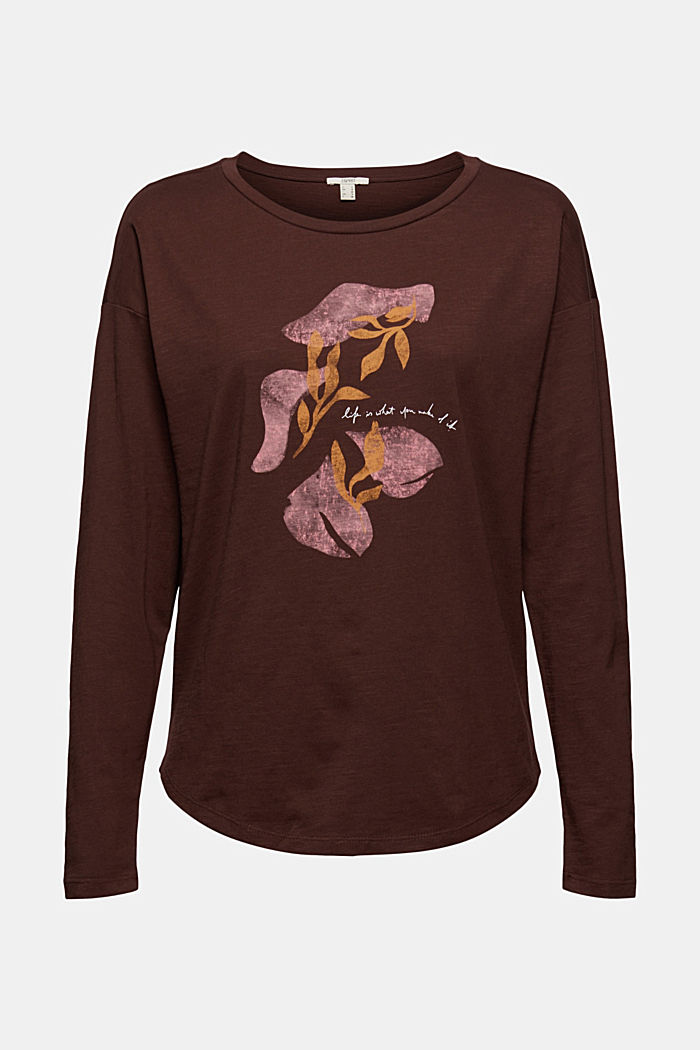 Cotton long sleeve top with a print, RUST BROWN, detail image number 7