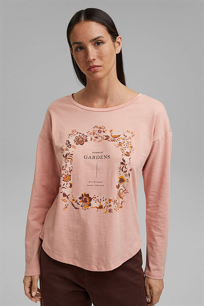 Cotton long sleeve top with a print, OLD PINK, detail image number 0