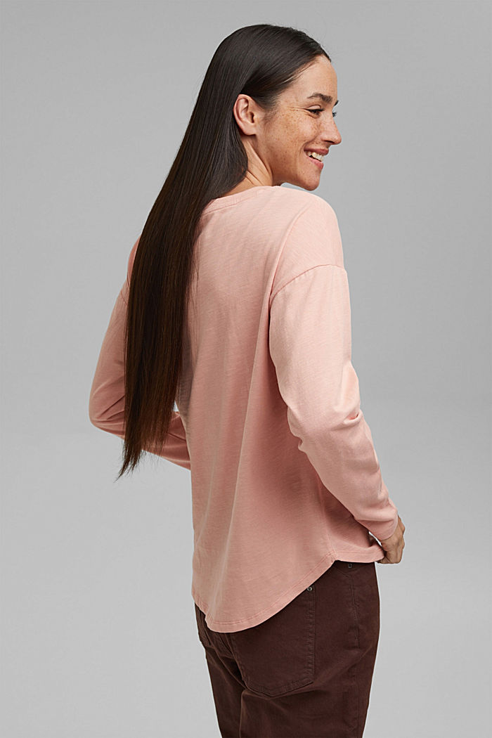 Cotton long sleeve top with a print, OLD PINK, detail image number 3