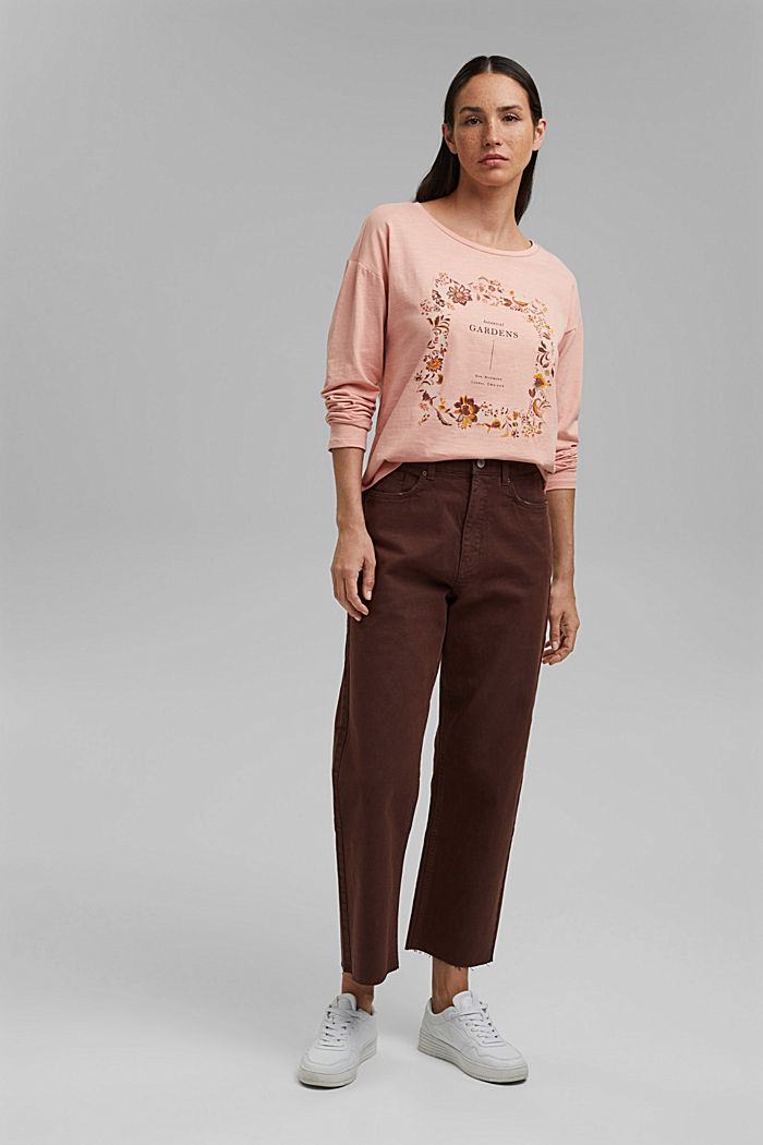 Cotton long sleeve top with a print, OLD PINK, detail image number 1