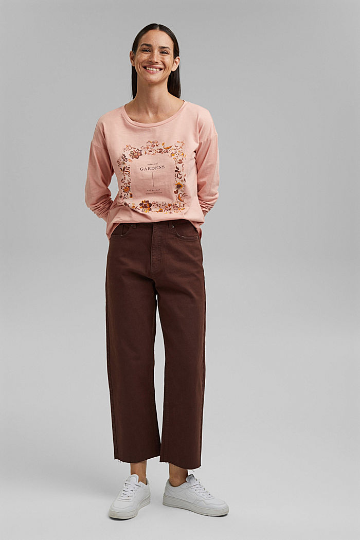 Cotton long sleeve top with a print, OLD PINK, detail image number 5