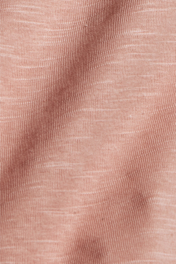 Cotton long sleeve top with a print, OLD PINK, detail image number 4