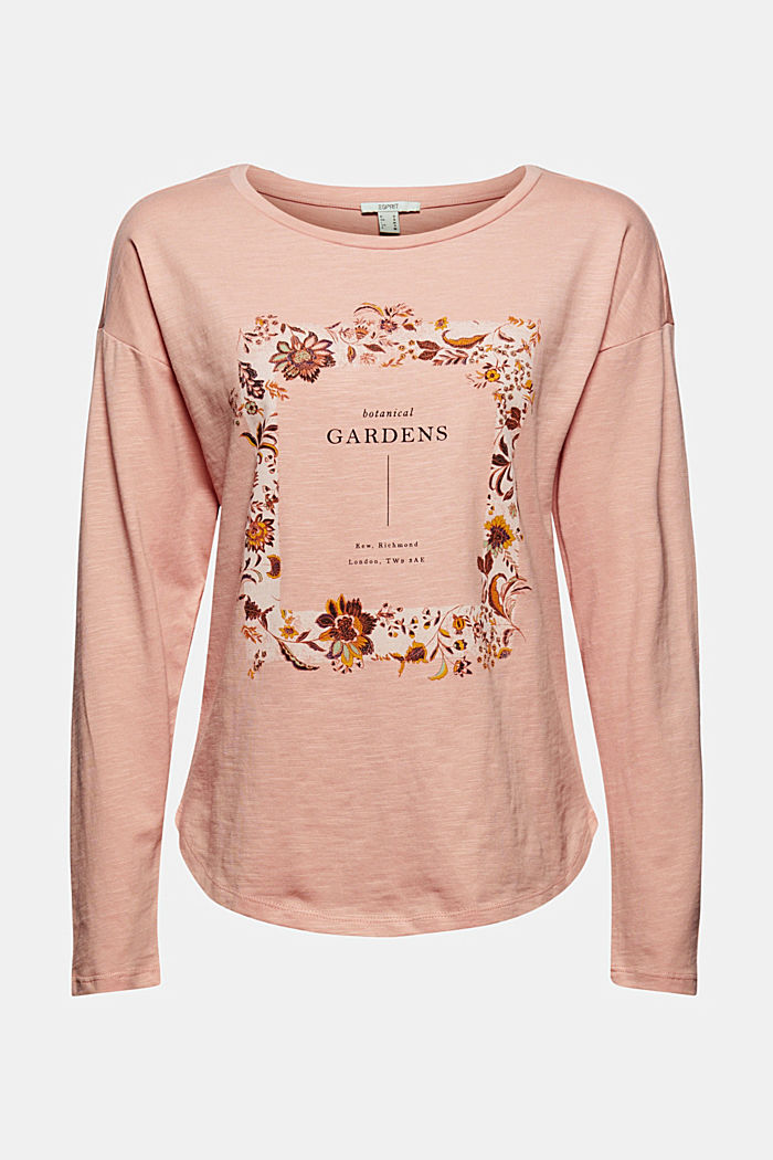 Cotton long sleeve top with a print, OLD PINK, detail image number 6