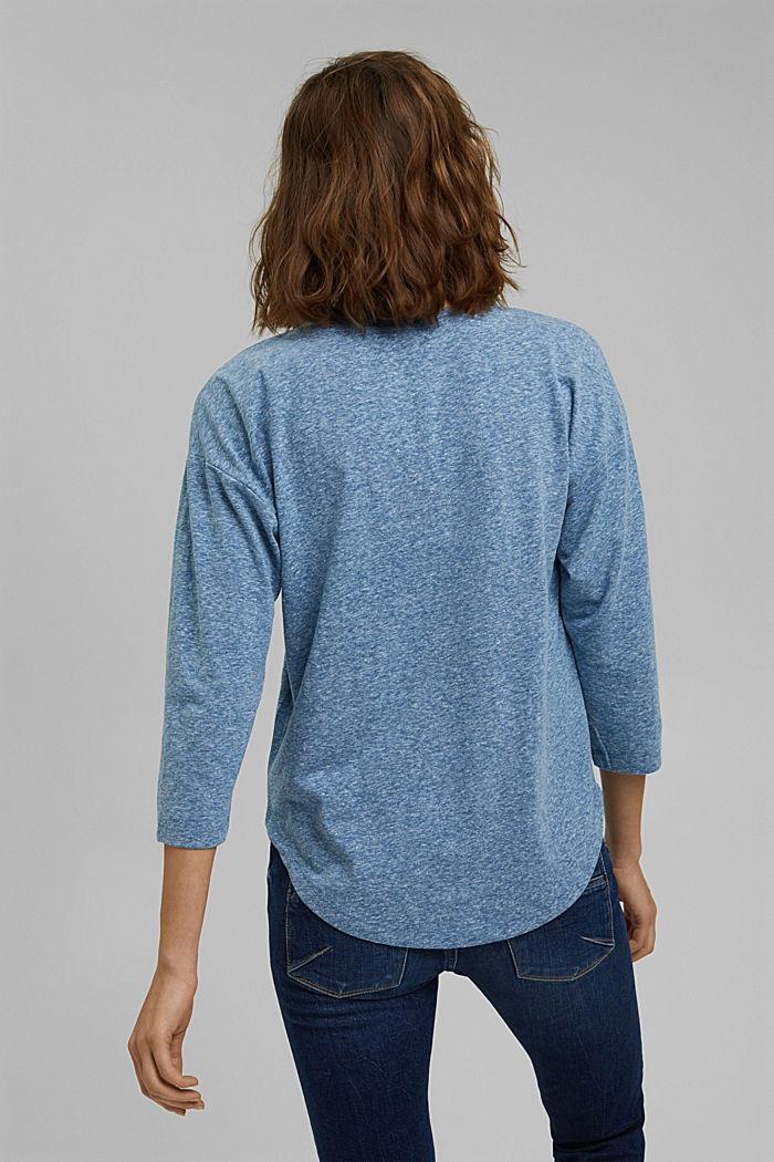 Melírované tričko s dlouhým rukávem a špičatým výstřihem, z bio bavlny, BRIGHT BLUE, detail image number 3