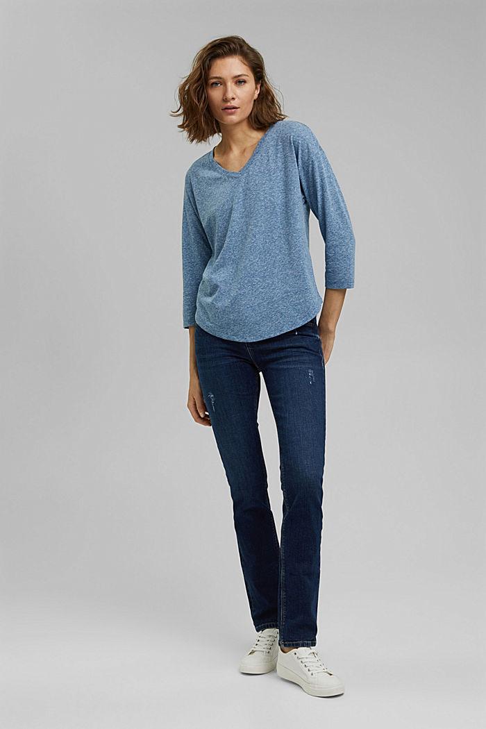 Melírované tričko s dlouhým rukávem a špičatým výstřihem, z bio bavlny, BRIGHT BLUE, detail image number 1