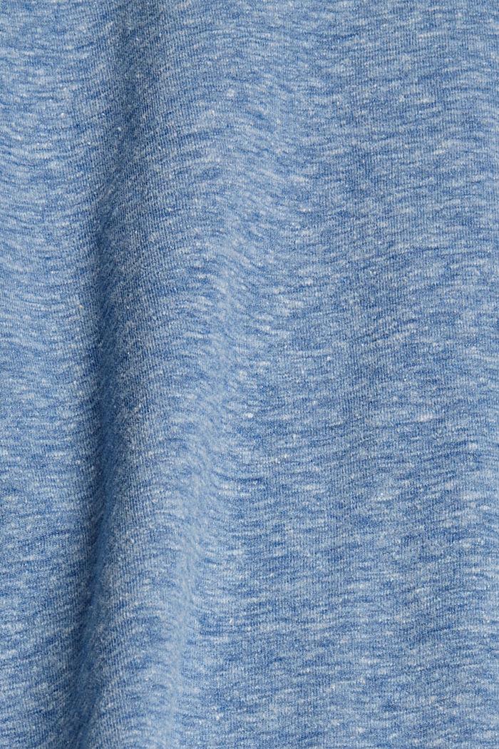 Melírované tričko s dlouhým rukávem a špičatým výstřihem, z bio bavlny, BRIGHT BLUE, detail image number 4