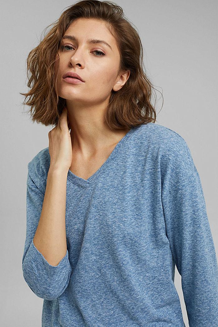 Melírované tričko s dlouhým rukávem a špičatým výstřihem, z bio bavlny, BRIGHT BLUE, detail image number 6