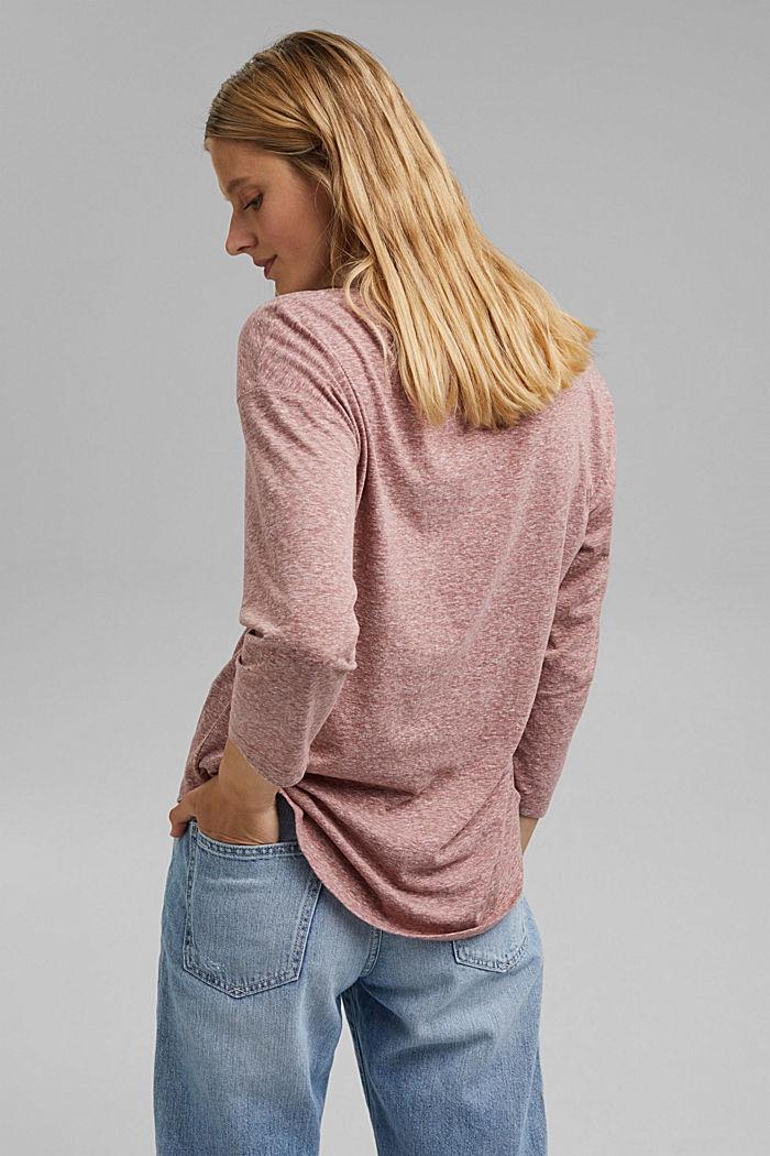 Melange V-neck long sleeve top, organic cotton, DARK OLD PINK, detail image number 3