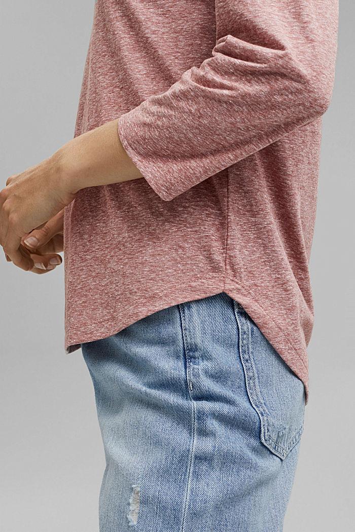 Melange V-neck long sleeve top, organic cotton, DARK OLD PINK, detail image number 2