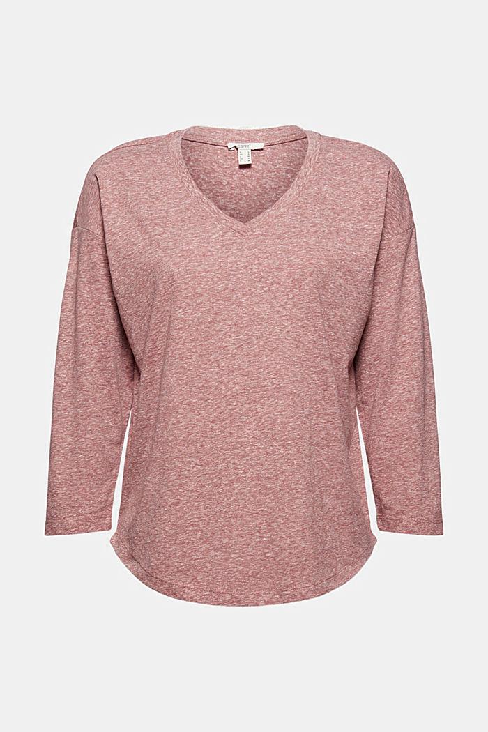 Melange V-neck long sleeve top, organic cotton, DARK OLD PINK, detail image number 6