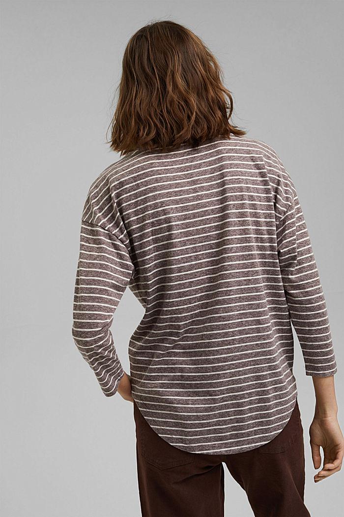 Striped V-neck long sleeve top, RUST BROWN, detail image number 3
