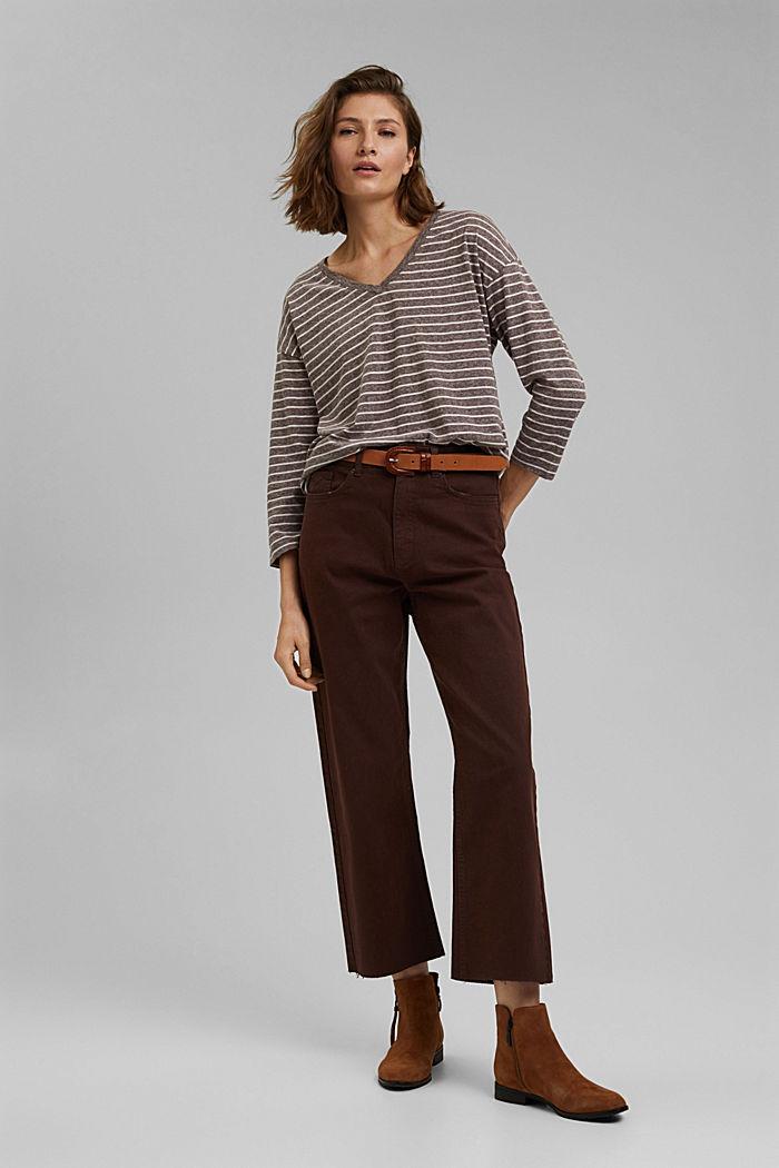 Striped V-neck long sleeve top, RUST BROWN, detail image number 1