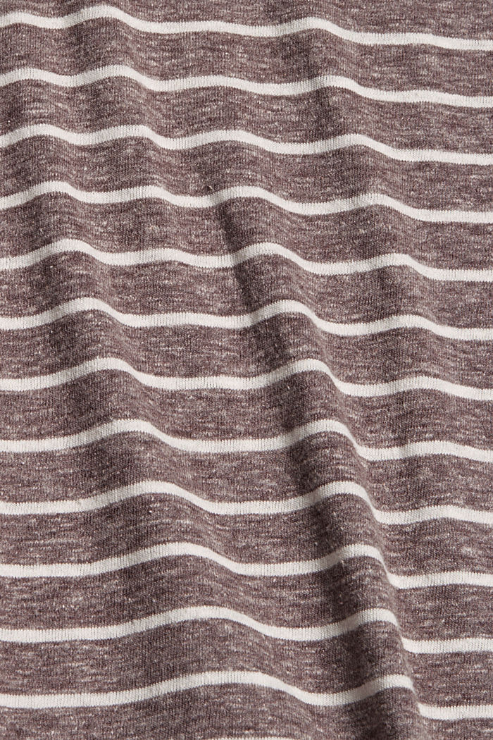 Striped V-neck long sleeve top, RUST BROWN, detail image number 4