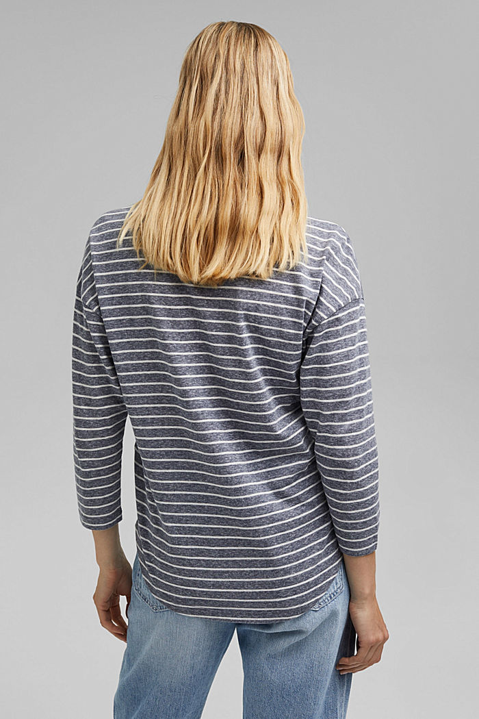 Striped V-neck long sleeve top, NAVY, detail image number 3