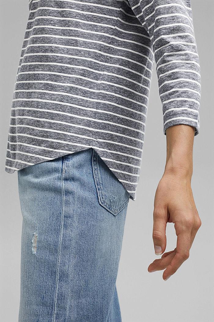 Striped V-neck long sleeve top, NAVY, detail image number 2