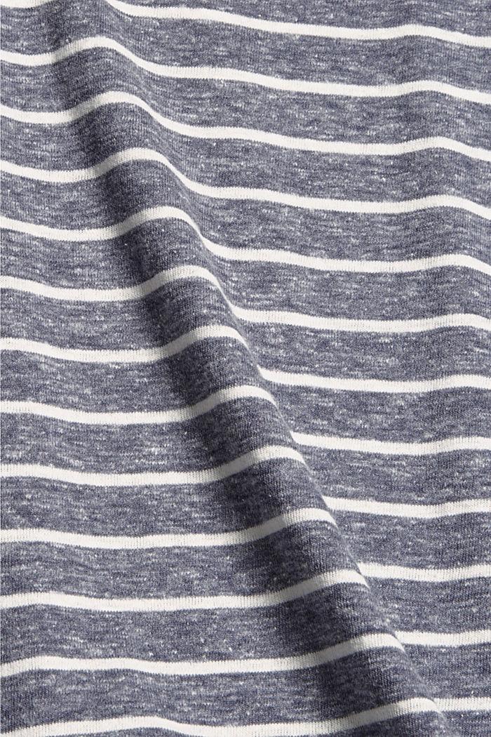 Striped V-neck long sleeve top, NAVY, detail image number 4
