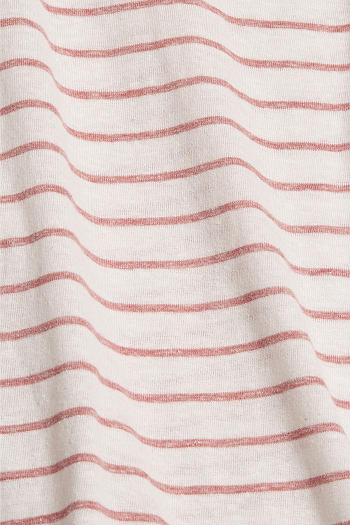 Striped V-neck long sleeve top, RED, detail image number 4