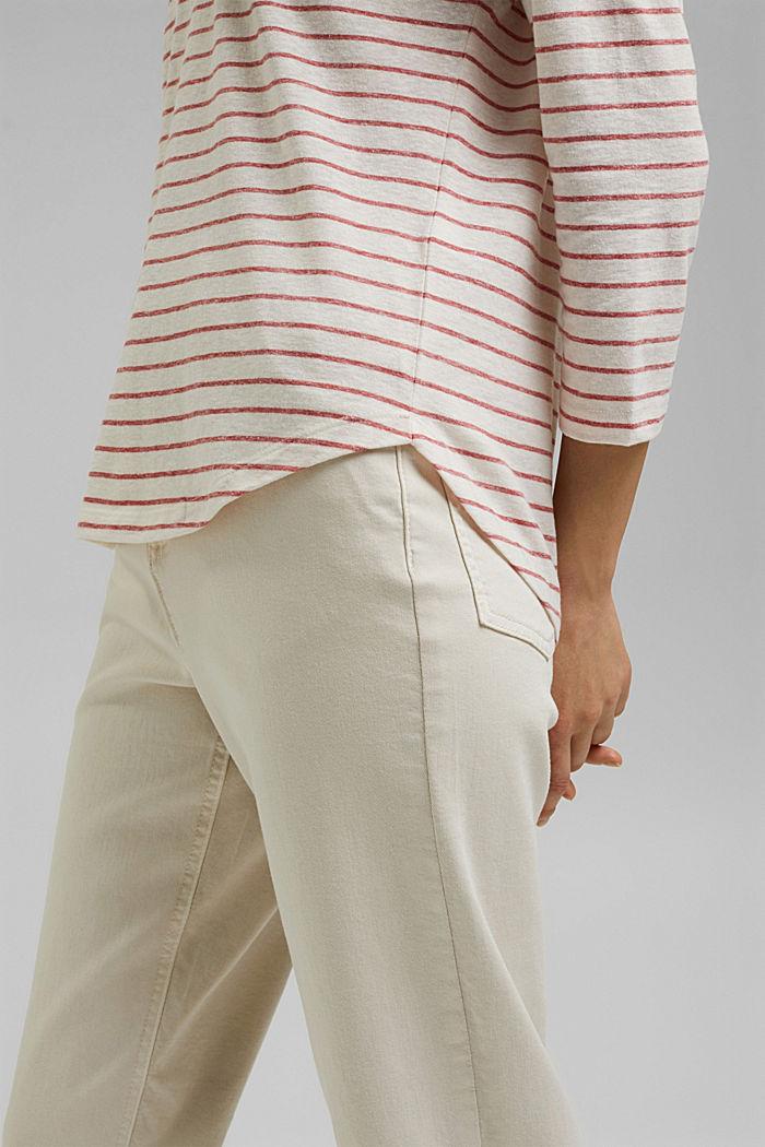 Striped V-neck long sleeve top, RED, detail image number 5