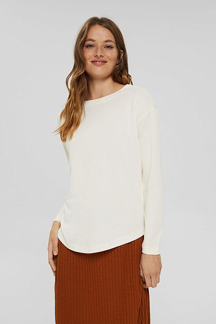 T-shirt à manches longues à effet brillant mat, OFF WHITE, detail image number 0