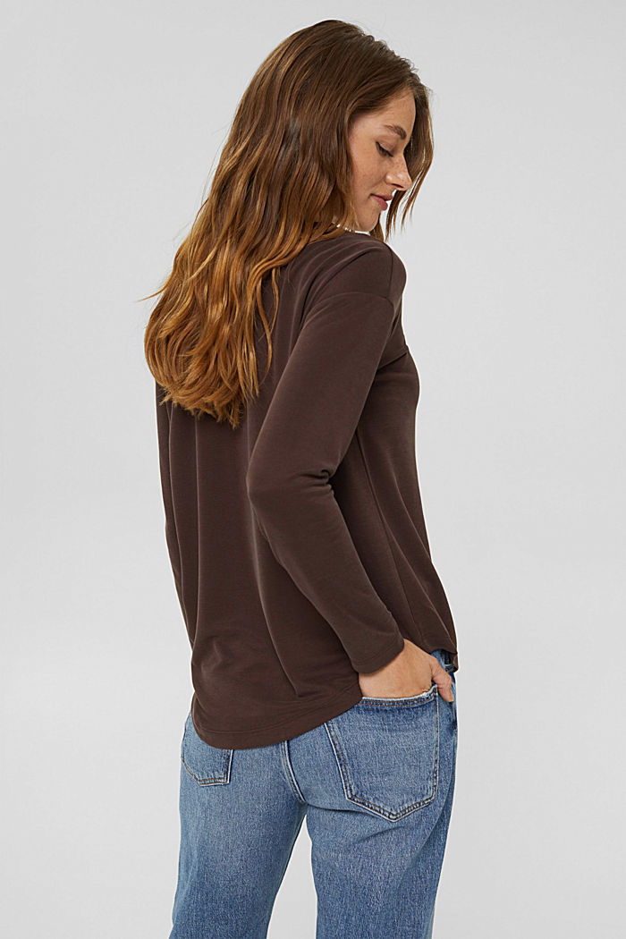 Long sleeve top with a matt shimmer, RUST BROWN, detail image number 3