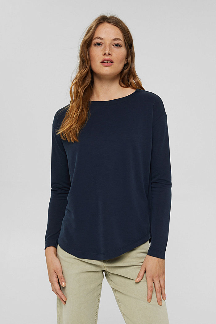Long sleeve top with a matt shimmer, NAVY, detail image number 0