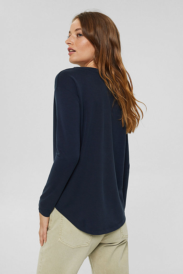 Long sleeve top with a matt shimmer, NAVY, detail image number 3