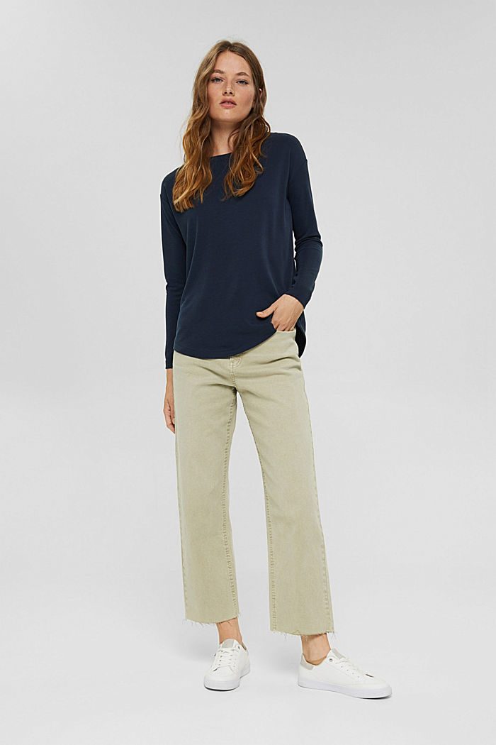 Long sleeve top with a matt shimmer, NAVY, detail image number 1