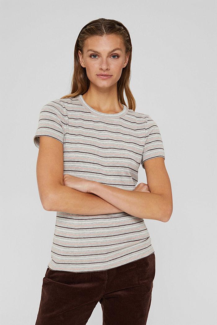 T-Shirt mit Streifen aus Bio-Baumwoll-Mix, LIGHT GREY, detail image number 0