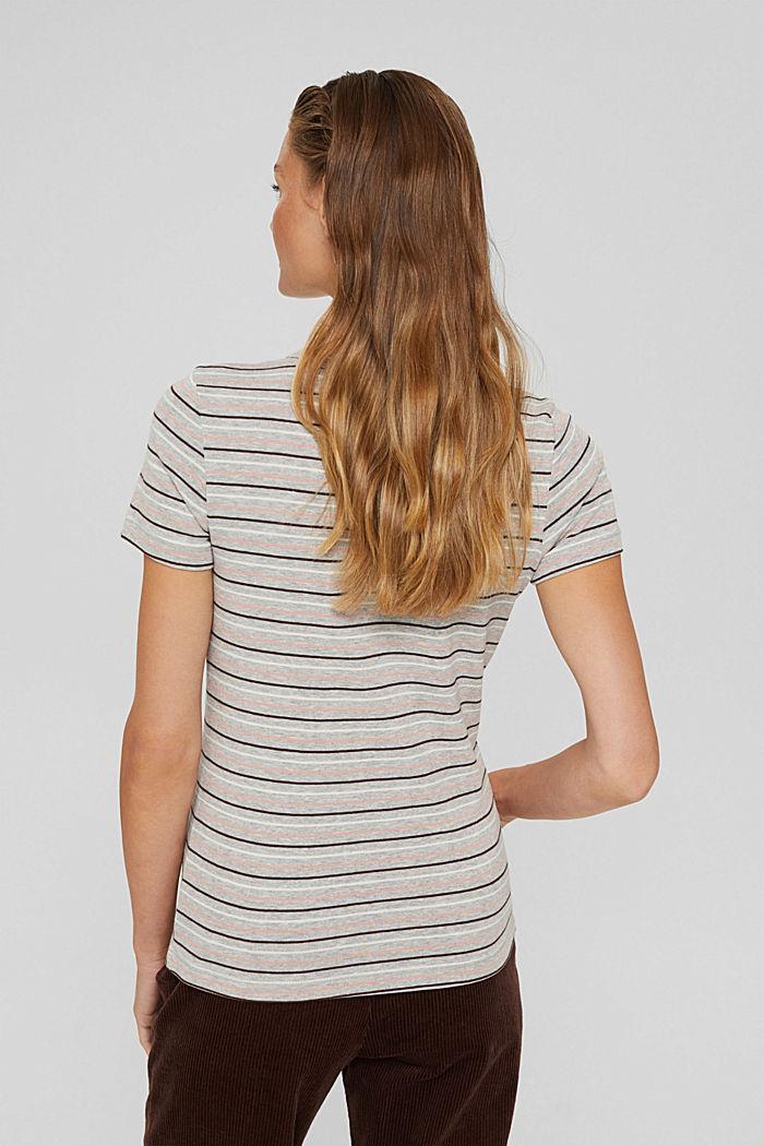 T-Shirt mit Streifen aus Bio-Baumwoll-Mix, LIGHT GREY, detail image number 3