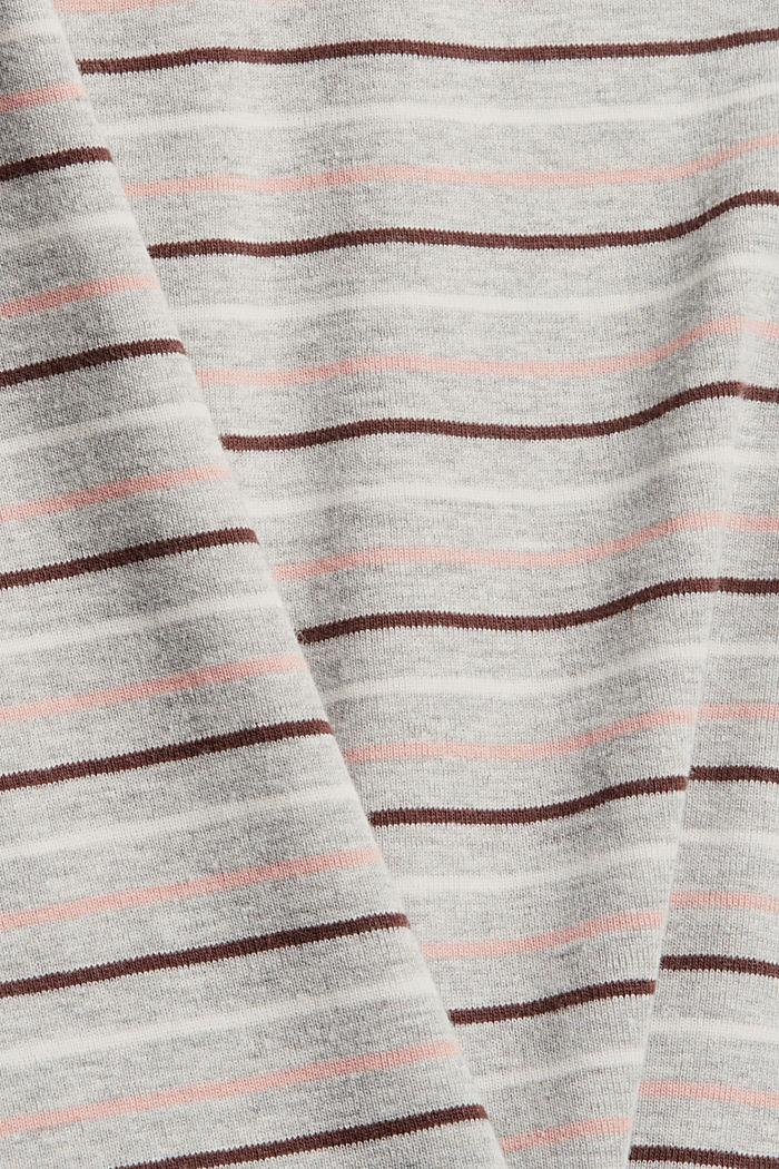 T-Shirt mit Streifen aus Bio-Baumwoll-Mix, LIGHT GREY, detail image number 4