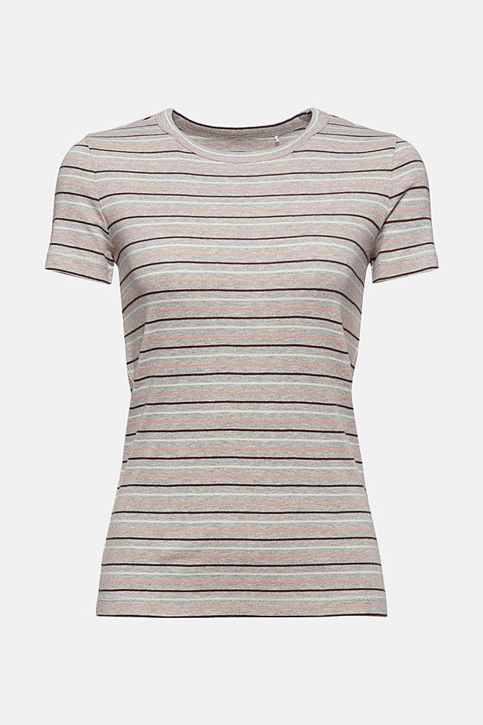 T-Shirt mit Streifen aus Bio-Baumwoll-Mix, LIGHT GREY, detail image number 5