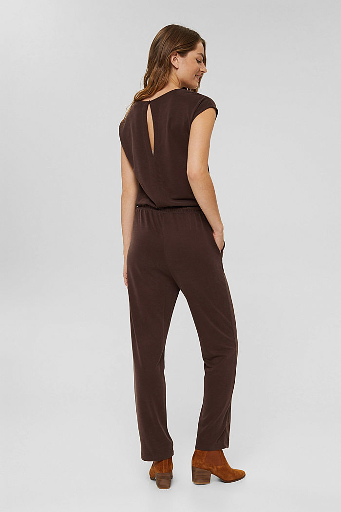 Jumpsuit with a matt shimmer, RUST BROWN, detail image number 2