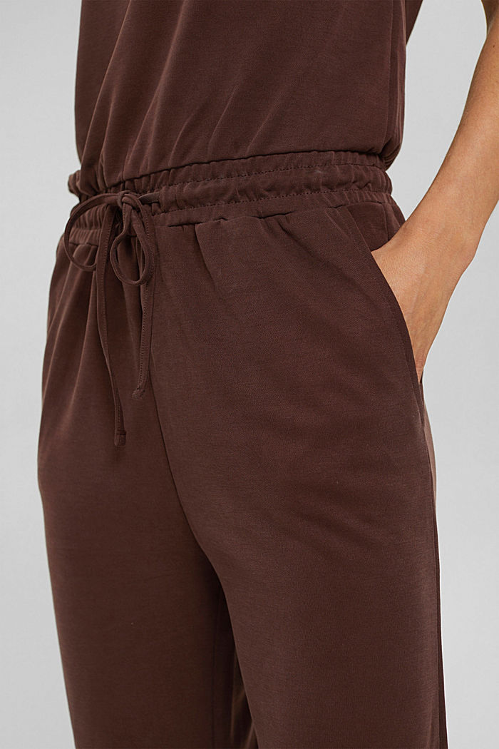 Jumpsuit with a matt shimmer, RUST BROWN, detail image number 3