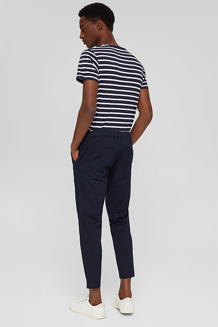 Cropped trousers with organic cotton and COOLMAX®, DARK BLUE, detail image number 3