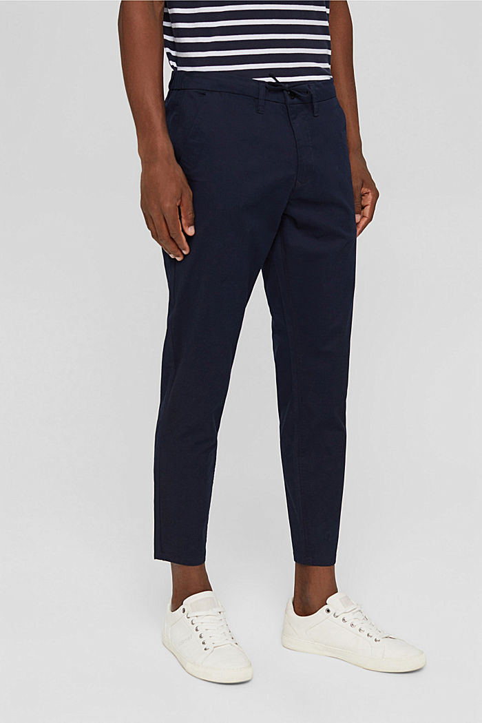Cropped trousers with organic cotton and COOLMAX®, DARK BLUE, detail image number 6