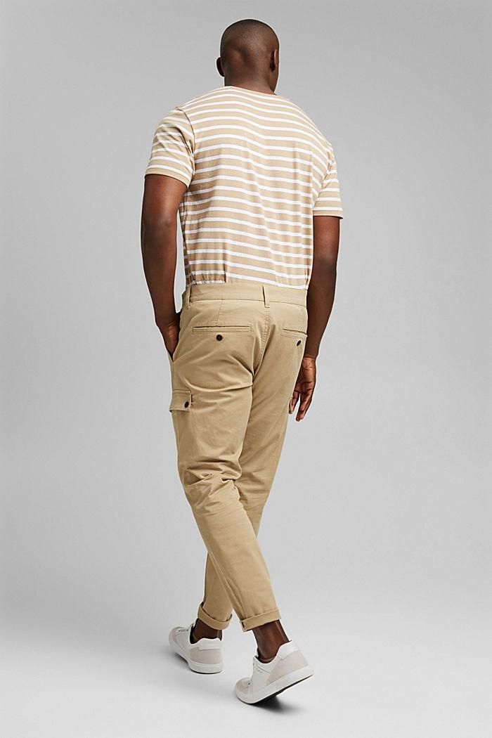 Pantalon cargo en coton bio stretch, BEIGE, detail image number 3