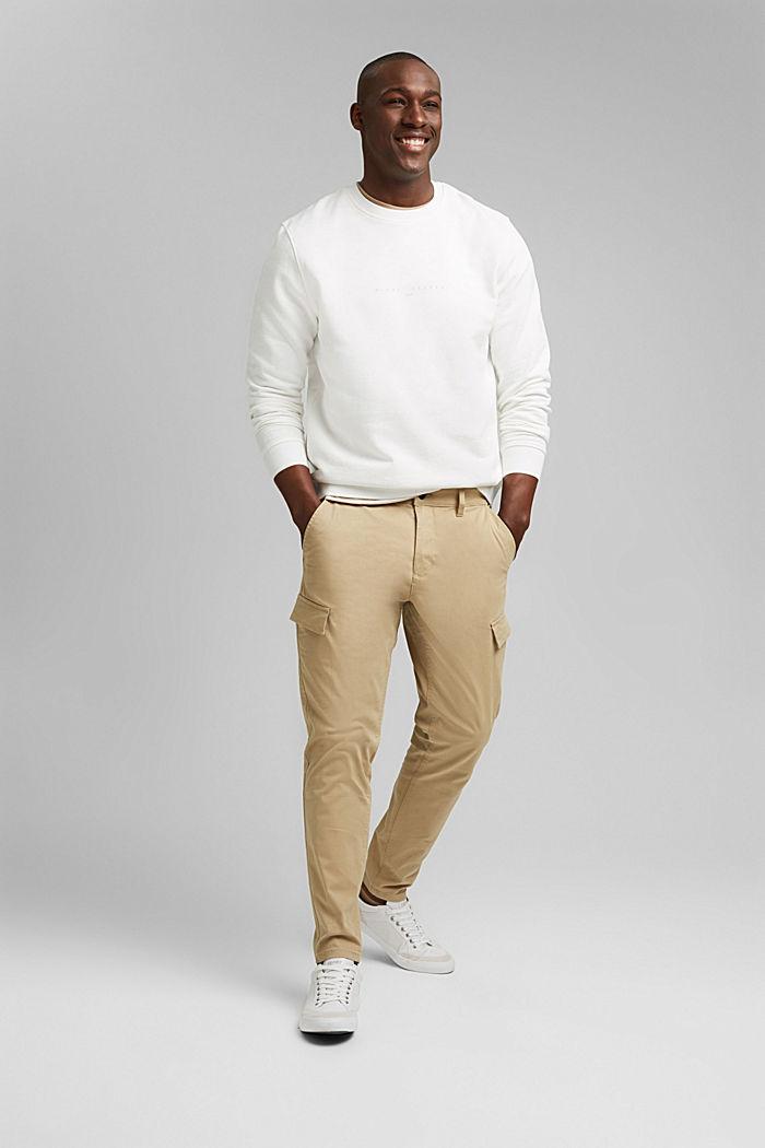 Pantalon cargo en coton bio stretch, BEIGE, detail image number 1