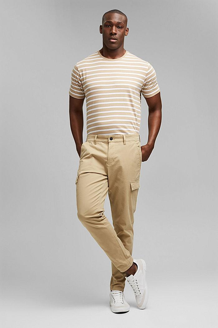 Pantalon cargo en coton bio stretch, BEIGE, detail image number 7