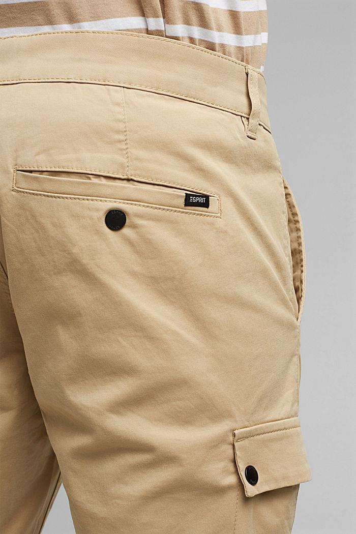 Pantalon cargo en coton bio stretch, BEIGE, detail image number 6