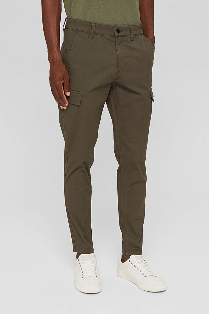 Cargo trousers made of stretch organic cotton, DARK KHAKI, detail image number 0