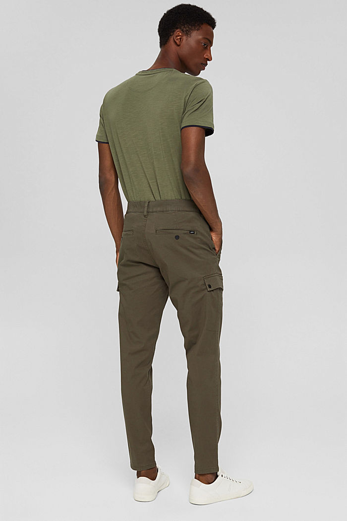 Cargo trousers made of stretch organic cotton, DARK KHAKI, detail image number 3