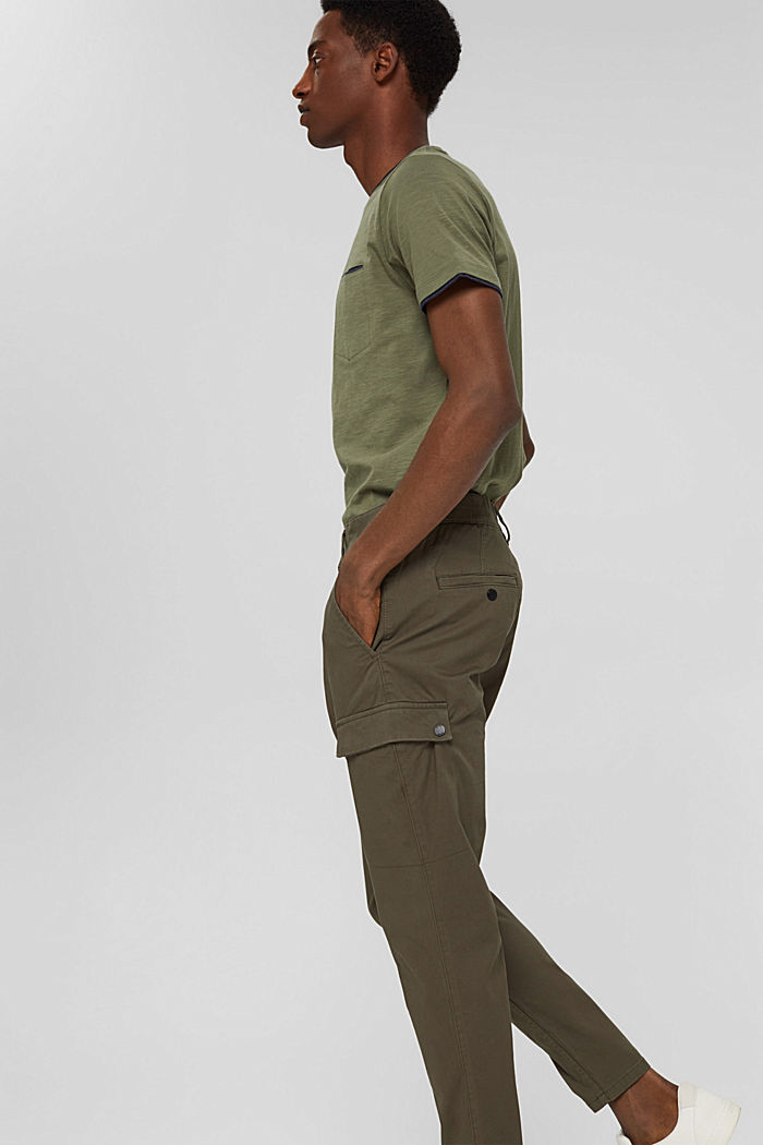Cargo trousers made of stretch organic cotton, DARK KHAKI, detail image number 5