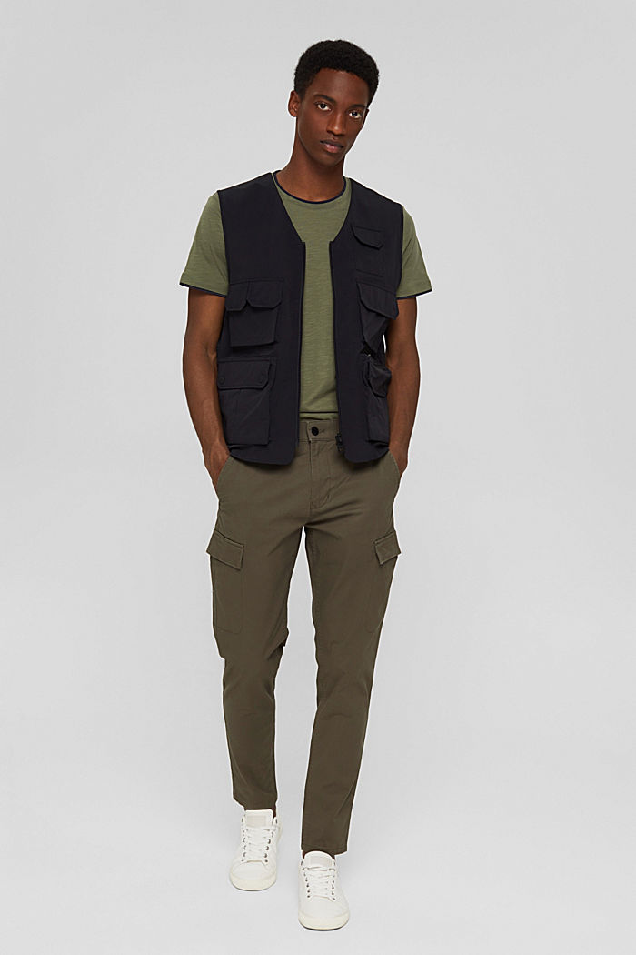 Cargo trousers made of stretch organic cotton, DARK KHAKI, detail image number 1