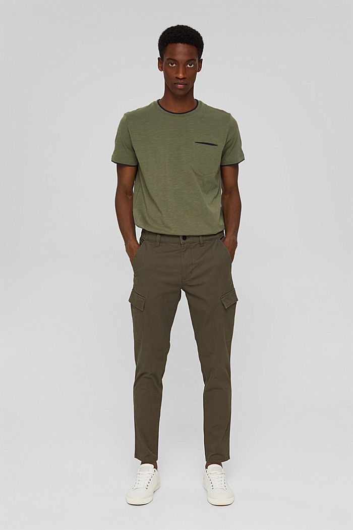 Cargo trousers made of stretch organic cotton, DARK KHAKI, detail image number 6