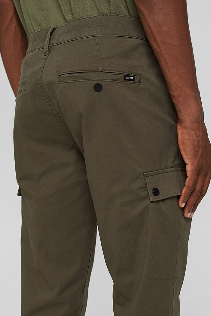 Cargo trousers made of stretch organic cotton, DARK KHAKI, detail image number 2