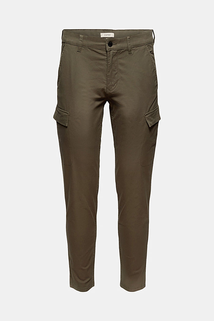 Cargo trousers made of stretch organic cotton, DARK KHAKI, detail image number 7