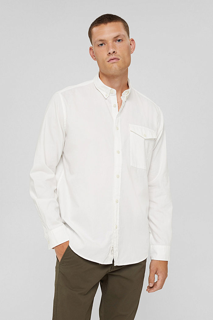 Button-Down-Hemd aus 100% Baumwolle, OFF WHITE, detail image number 0