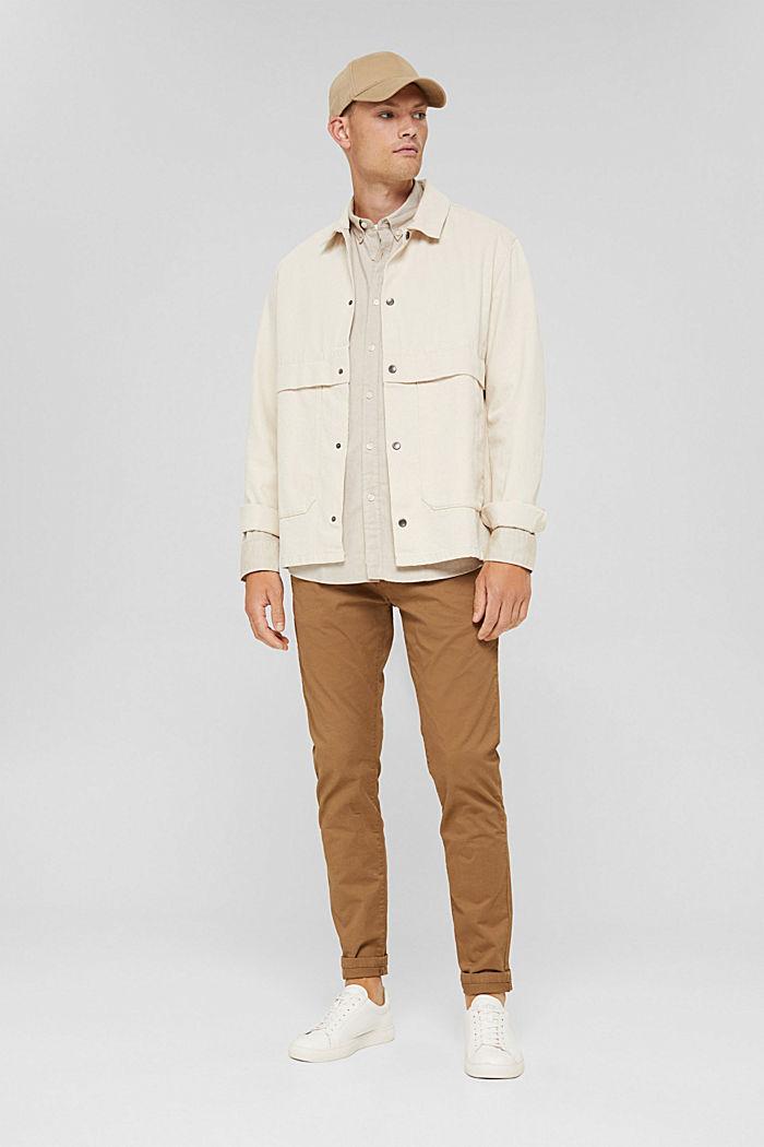 Button-Down-Hemd aus 100% Baumwolle, BEIGE, detail image number 1